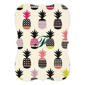 Hipster, patroon, multi, kleur, trendy ananas, 12,7x17,8 uitnodiging kaart