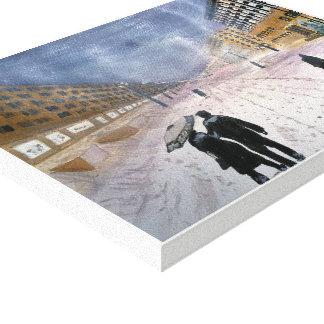 Hiver - aquarelle, copie enveloppée de toile