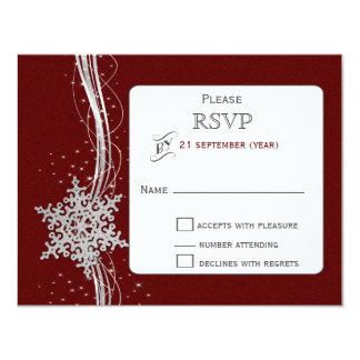 hiver argenté rouge de flocons de neige épousant invitations