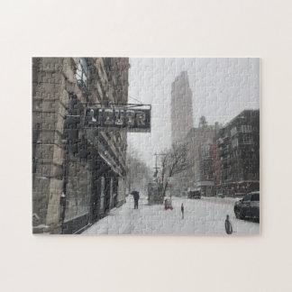 Hiver dans le puzzle de photo de tempête de neige