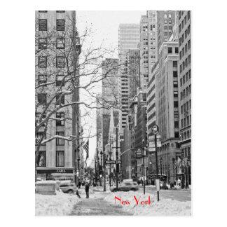 Hiver devant la carte postale de station de NY