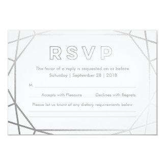 Hiver géométrique argenté de | épousant RSVP Carton D'invitation 8,89 Cm X 12,70 Cm
