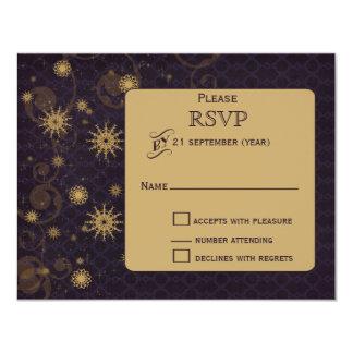hiver pourpre de flocons de neige d'or épousant cartons d'invitation
