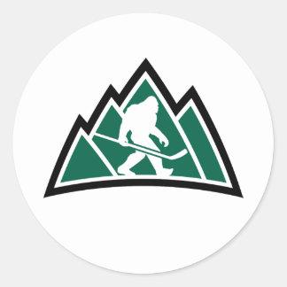 "Hockey 1"" de Sasquatch autocollant rond (feuille"