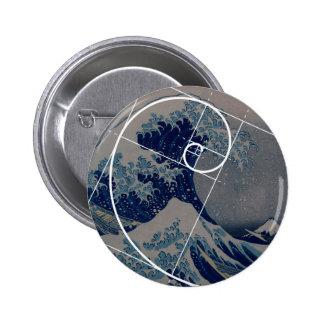Hokusai ontmoet Fibonacci, Gouden Verhouding Ronde Button 5,7 Cm