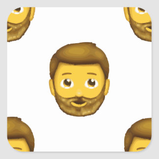 homme barbu d'emoji sticker carré