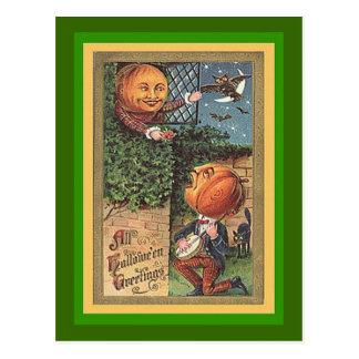 Homme chanteur vintage de citrouille carte postale