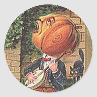 Homme chanteur vintage de citrouille sticker rond