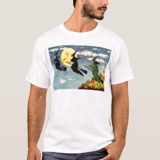 Homme de balai de vol de sorcière dans le ciel de t-shirt