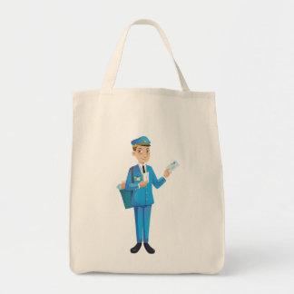 homme de courrier sac en toile épicerie