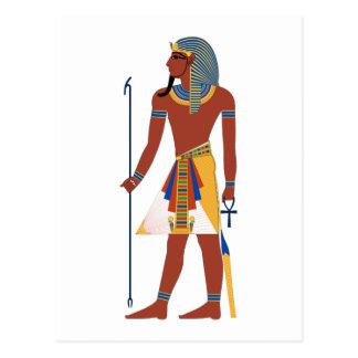Homme égyptien antique bronzage dans la coiffe carte postale