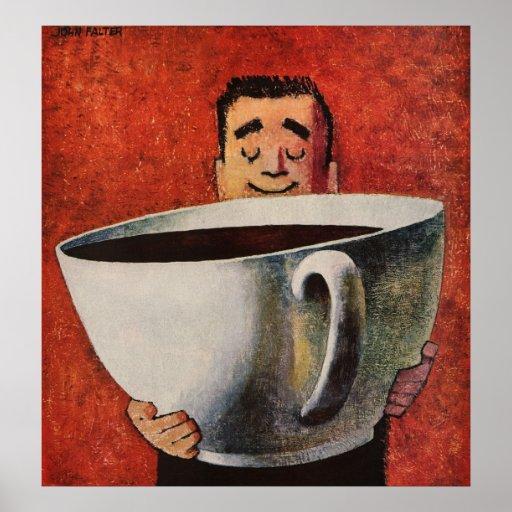 Homme heureux vintage buvant la tasse de café géan posters