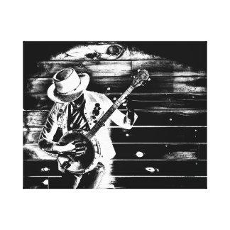 Homme noir et blanc de banjo - toile toiles