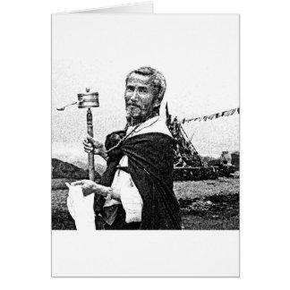 Homme tibétain avec la roue de prière carte