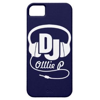 Hoofdtelefoons DJ genoemd blauwe en witte iphone 5 Barely There iPhone 5 Hoesje