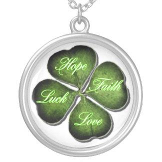 Hoop, Geloof, Liefde, & Geluk 4 de Klaver van het  Zilver Vergulden Ketting