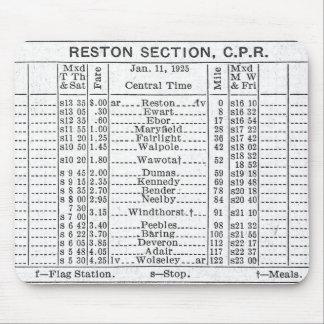 Horaire 1925 de section de CPR Reston Tapis De Souris