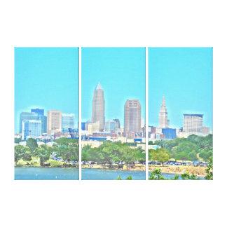 Horizon copie de toile de Cleveland, OH de lac