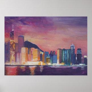 Horizon de Hong Kong la nuit Poster
