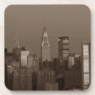 Horizon de New York City de sépia Dessous-de-verre