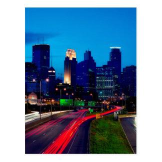 Horizon de nuit de Minneapolis Carte Postale