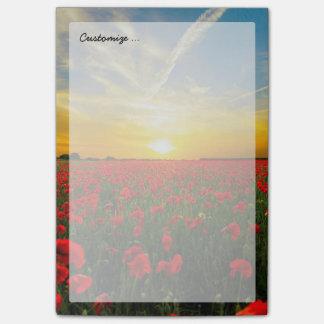 Horizon merveilleux de coucher du soleil de champ post-it®