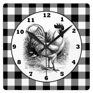 Horloge blanche de contrôle de noir de coq de pays horloge carrée