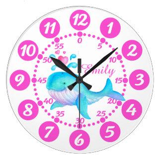 Horloge blanche rose de giclement d'art de baleine