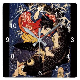 """HORLOGE CARRÉE """"歌川国芳""""の""""鬼若丸の鯉退治""""の壁掛け時計"""