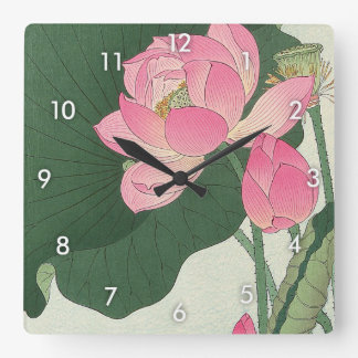 Horloge Carrée 蓮の花, fleur de Lotus de 小原古邨, Ohara Koson, Ukiyo-e