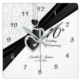 Horloge Carrée 10ème Onyx et souvenir blanc d'anniversaire de