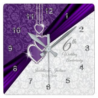Horloge Carrée 6ème Souvenir pourpre d'anniversaire de mariage