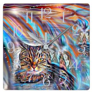 Horloge Carrée À la dérive chez le chat tropical de coucher du
