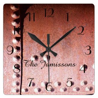 Horloge Carrée Abrégé sur rouillé en métal de Faux, horloge,