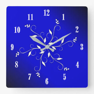 Horloge Carrée Accent blanc électrique de nombres de bleu de