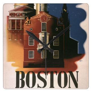 Horloge Carrée Affiche vintage de voyage de Boston, le