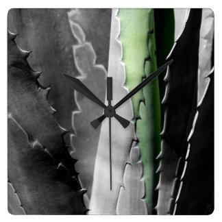 Horloge Carrée Aloès - macro photographie de beaux-arts dans noir