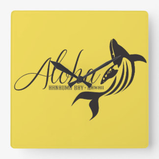Horloge Carrée Aloha baleine d'Hawaï