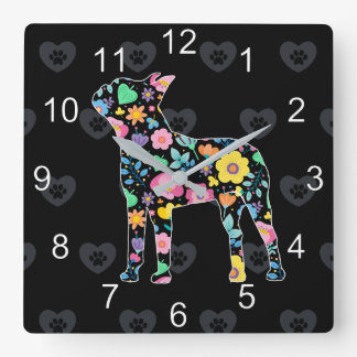 Horloge Carrée Amour mignon ma conception florale de Boston