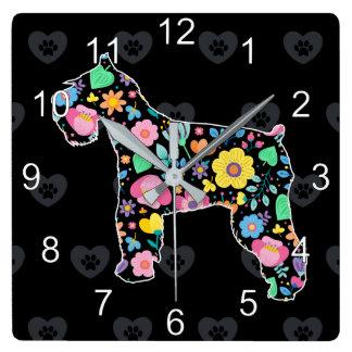 Horloge Carrée Amour mignon ma conception florale de Schnauzer