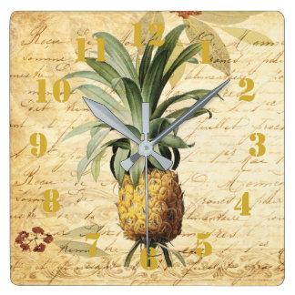 Horloge Carrée Ananas vintage rustique de calligraphie fleuri