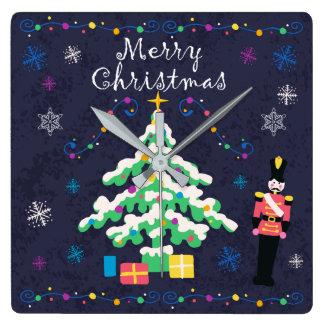 Horloge Carrée Arbre de Joyeux Noël et décor d'ornements