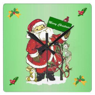 Horloge Carrée Arbre mignon d'animaux de Père Noël de Joyeux Noël