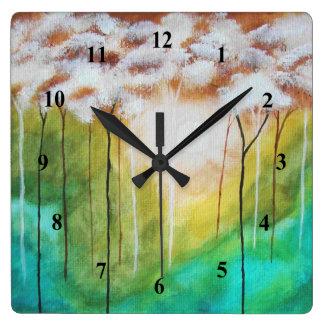 Horloge Carrée Arbres maigres de paysage d'art de lever de soleil