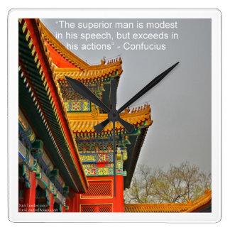 Horloge Carrée Architecture chinoise antique et Confucius