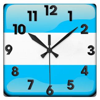 Horloge Carrée Argentin poli