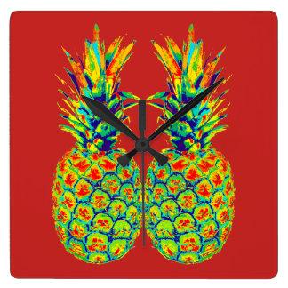 Horloge Carrée Art de bruit d'ananas