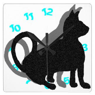 Horloge Carrée Art de bruit drôle de chats d'animaux familiers de