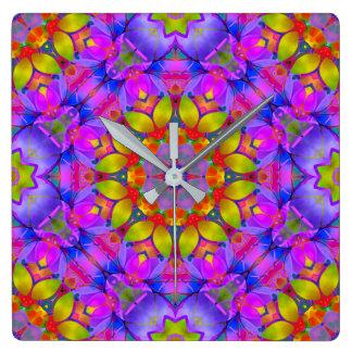 Horloge Carrée Art floral G445 de fractale d'horloge murale