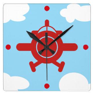Horloge Carrée Avion dans le ciel